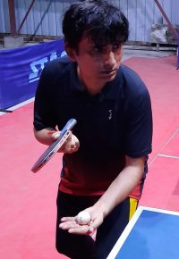 I am playing table tennis in my club